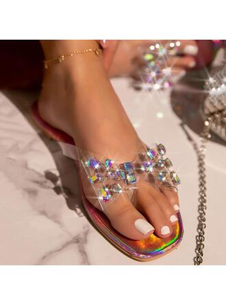 Femmes PVC Talon plat Sandales À bout ouvert Chaussons avec Bowknot Couleur unie chaussures