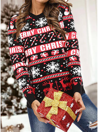 Mulheres Estampado Rena Carta Às bolinhas Camisola de Natal Feio