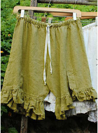 Solid Shirred Plus Size Knee-length Boho Casual Tribal Shorts