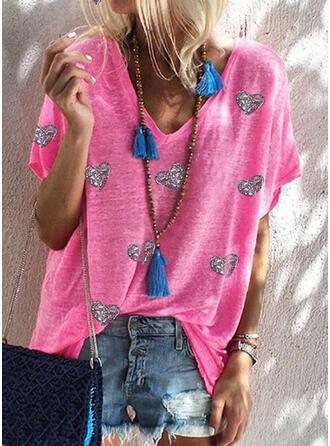 Heart Sequins V-Neck Short Sleeves T-shirts
