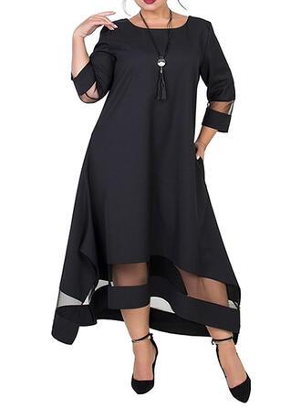 Plus Size Solid 3/4 Sleeves Shift Midi Elegant Dress
