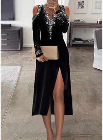Print Sequins Long Sleeves Cold Shoulder Sleeve Sheath Party/Elegant Midi Dresses