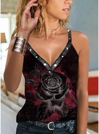 Floral Print Sequins V-Neck Sleeveless Tank Tops
