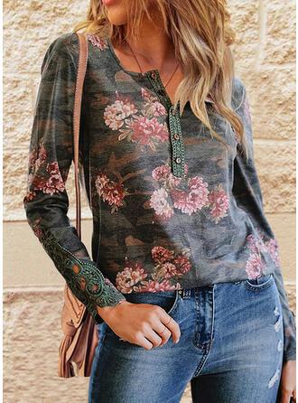 Floral V-Neck Long Sleeves T-shirts