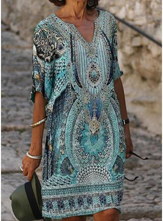 Imprimée Manches 1/2 Droite Longueur Genou Décontractée/Bohème/Vacances Tunique Robes