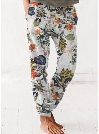 Floral Print Leaves Linen Cotton Long Casual Pocket Lounge Pants