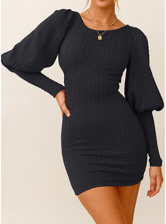 Solid Long Sleeves Lantern Sleeve Bodycon Above Knee Little Black/Casual Dresses