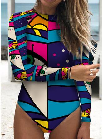 Stripe Splice color Round Neck Retro Boho One-piece Swimsuits
