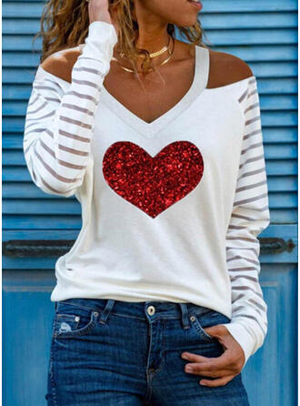 Sequins Heart Cold Shoulder Long Sleeves Casual Blouses