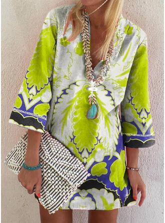 Print 3/4 Sleeves Shift Above Knee Boho/Vacation Tunic Dresses