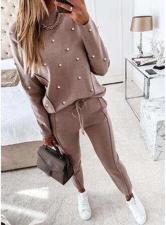 Solid Plus Size Drawstring Casual Plain Suits