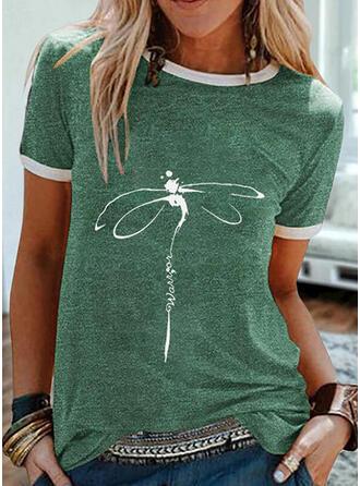 Estampado de animales Carta Cuello Redondo Manga Corta Camisetas