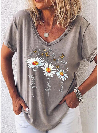 Floral Animal Print V-Neck Short Sleeves Casual T-shirts