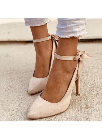 Femmes PU Talon stiletto Escarpins avec Bowknot Boucle Couleur unie chaussures