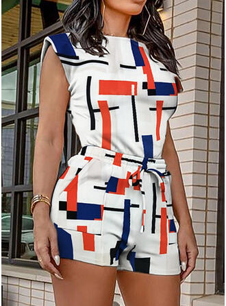 Geometric Print Elegant Plus Size Camisole & Two-Piece Outfits Set