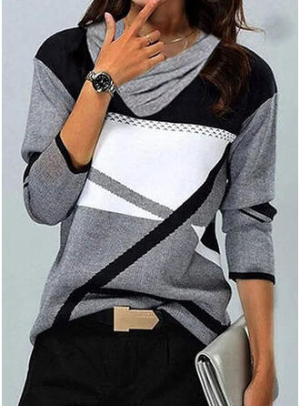 Color Block Crew Neck Long Sleeves T-shirts