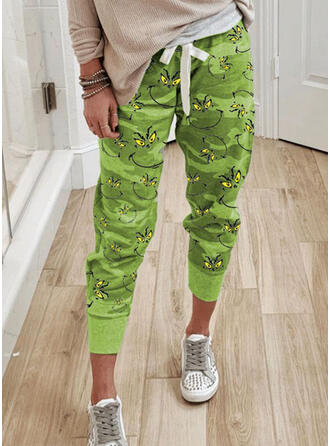 Print Plus Size Camouflage Drawstring Christmas Casual Sporty Pants