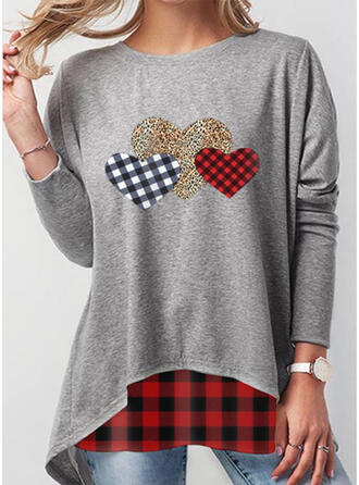Leopard Heart Plaid Round Neck Long Sleeves Sweatshirt