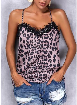 Leopardo Alcinhas Sem mangas Regatas