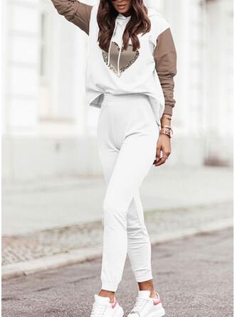 Cœur Imprimé Bloc de Couleur Décontractée Grande taille Sweatshirts & Tenues deux pièces ensemble