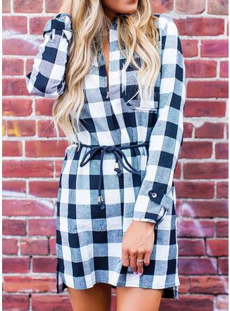 Plaid Long Sleeves Shift Mini Casual Dresses