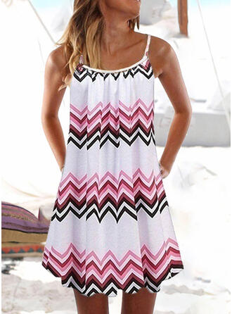 Stripe Splice color U-Neck Fresh Cover-ups Swimsuits