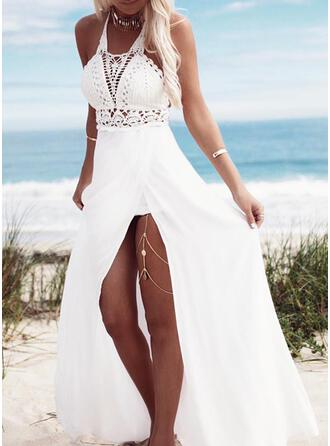 Lace/Solid Sleeveless A-line Skater Casual/Vacation Maxi Dresses