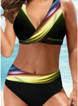 Épissage Couleur Patchwork Dos Nu Col V Sexy Grande taille Décontractée Bikinis Maillots De Bain