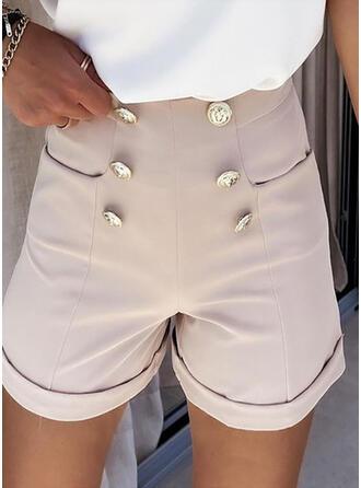 Couleur Unie Mousseline Au-dessus du genou Décontractée Bourré Pantalon Short