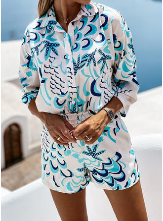 Print Floral Casual Blouse & Two-Piece Outfits Set