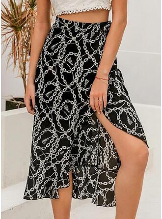 Polyester Geometric Print Mid-Calf Pencil Skirts High-Slit Skirts