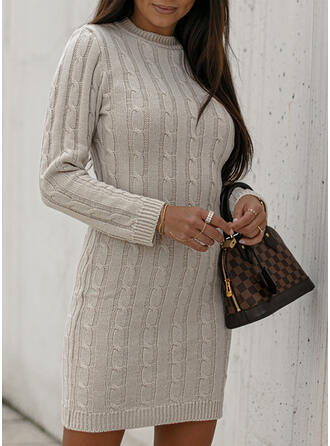 Solid Knit Long Sleeves Bodycon Above Knee Casual Sweater Dresses