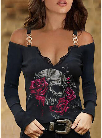 Print Floral Skull head Lace Cold Shoulder Long Sleeves Cold Shoulder Sleeve Casual Blouses