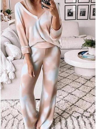 Polyester Long Sleeves V Neck Tie Dye Pyjama Set
