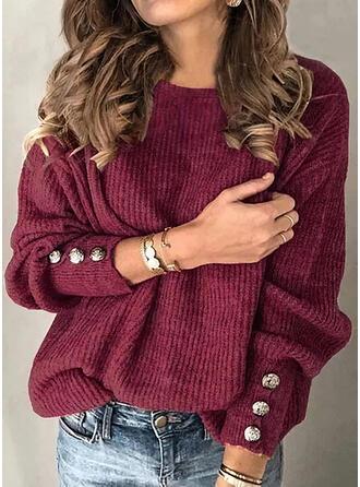 Sólido Cuello Redondo Casuales Suéteres