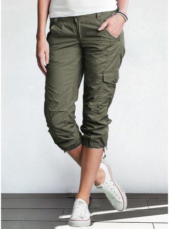 Solid Capris Casual Plus Size Pocket Button Pants Lounge Pants