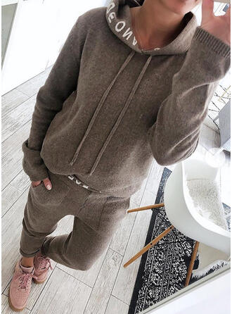 Solid Plus Size Drawstring Casual Sporty Suits