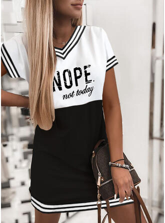 Print/Color Block/Striped/Letter Short Sleeves Shift Above Knee Casual T-shirt Dresses