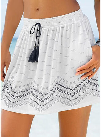 Cotton Blends Print Above Knee Pleated Skirts
