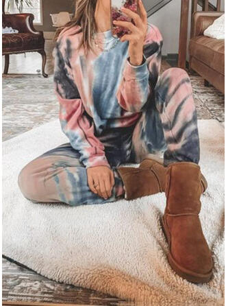Tie Dye Casual camisolas & Roupas de Duas Peças Set ()