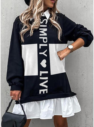 Print/Color Block/Heart/Letter Long Sleeves Lantern Sleeve Shift Above Knee Casual Tunic Dresses