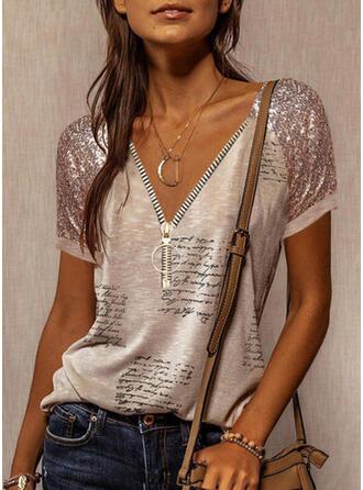 Print Sequins Figure V-Neck Short Sleeves Casual Blouses