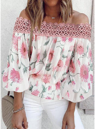 Print Floral Lace Off the Shoulder 3/4 Sleeves Casual Blouses
