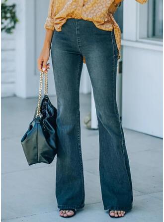 Sólido Jean Grandes Elegante Vintage Tamanho positivo Escritório / Negócios Bolso Jeans