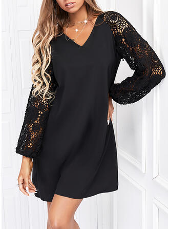 Solid Lace Long Sleeves Shift Above Knee Little Black/Casual Dresses