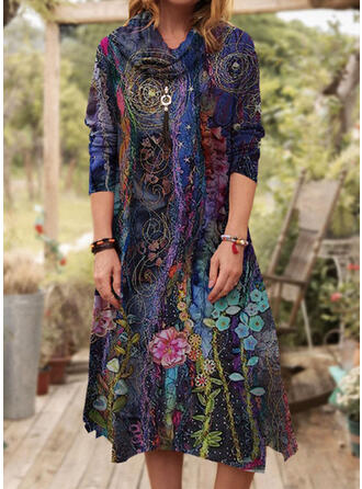 Floral Long Sleeves A-line Casual Midi Dresses