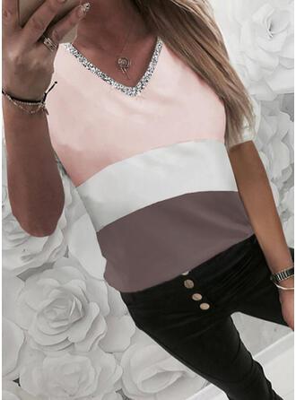 Color Block Sequins V-Neck 1/2 Sleeves T-shirts