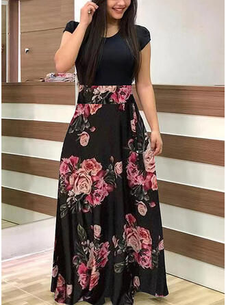 Plus Size Floral Print Short Sleeves A-line Maxi Casual Dress