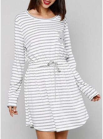 Round Neck Long Sleeves Stripe Casual Night Dress