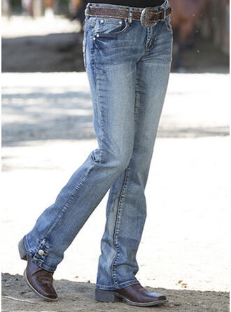 Shirred Plus Size Long Elegant Skinny Denim & Jeans
